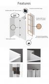 Biombo - Separador - White Lilly Cm.  145x180 (5 Paneles)