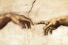Impresión Sobre Lienzo - Michelangelo La Creación De Adán Cm. 80x120