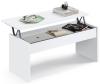 Mesa Centro Elevable Blanca Moderna Kamet Salón Comedor Mueble Superficie 47-58x100x50 Cm