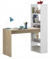 Escritorio Juvenil Duplo Con Estantería Color Blanco Y Roble Mesa Estilo Moderna Mueble 144x120x53cm