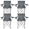Pack 4 Sillas Plegables De Camping Con Posavasos 79x47x80cm 7house