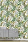 Papel Pintado, Estampación Digital Sobre Tejido-no Tejido, Pvc Free, Con Tintas Ecológicas Hp Latex. Colección Tropical. 68 Cm X10 Mt. Cubre 6,80 M2. Aracua Color 02. Made In Spain