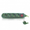 Base Múltiple Verde 4 Enchufes Con Interruptor 1.5 Metros De Cable Gsc 0001074