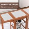 Homcom® Carrito Cocina Servicio Auxiliar Madera Metal Cromado 6 Ruedas
