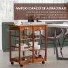 Homcom® Carrito Cocina Servicio Auxiliar Madera Metal Cromado Ruedas Cajon