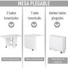 Mesa Plegable Comedor Con Ruedas Homcom 140x80x74cm-blanco