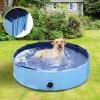 Pawhut Piscina Rígida Tipo Bañera Plegable Para Perros Gatos Mascotas Animales - Color Azul Cielo Y Azul Oscuro - Pvc Pet Tablones - Φ120x30 Cm