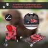 Pawhut Cochecito Plegable Para Mascotas Tipo Perro - Color Rojo - Material De Nylon - 75x45x97cm