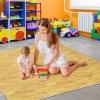 Homcom Alfombra Puzzle Para Niños O Gimnasio Color Madera Goma Espuma Eva 60 X 60 X 1cm