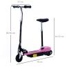 Homcom Patinete Eléctrico Scooter Plegable Con Manillar Y Asiento Ajustable - Color Rosa - 78x40x96cm