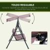 Columpio 3 Plazas Con Toldo De Metal 172x110x152cm-outsunny. Marrón
