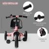 Homcom Triciclo Para Niños Más De 18 Meses Con Timbre Guardabarros Rueda De Seguridad - 74x49x55cm Rosa