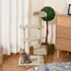 Pawhut Árbol Para Gato Rascador Poste Para Arañar Con Cama Plataforma Con Manta De Sisal Terciopelo Beige - 50x50x100cm