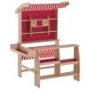 Homcom® Supermercado De Juguete Madera Para Niños +3 Años Tienda Infantil De Madera Roja 90x70x120cm