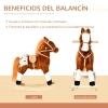 Homcom® Caballito Balancín Bebé Para Niños +3 Años Con Sonidos Marrón 74x28x65cm