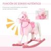 Homcom® Caballito Balancín Bebé Para Niños +3 Años Con Sonidos Rosa 74x28x65cm