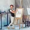 Homcom Caballete De Pintura Caballete De Madera Haya De Dibujo Estudio Altura Ajustable Trípode 65x68x174-230cm