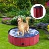 Bañera Para Perros Gatos Plegable Piscina Para Mascotas Natación Baño Φ100x30cm - Pawhut® . Rojo.