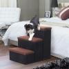 Pawhut Escalera Para Perro Y Gato Pasos Para Mascotas 3 Escalones Plegables Con Almacenmiento Desmontable Alto De 50cm