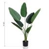 Outsunny Planta De Decoración Artificial De Palma Árbol Realista Con Maceta 7 Hojas Ф15x120cm