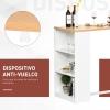 Mesa De Bar De Bistro Elegante Con 3 Estantes Para Comedor Antivuelco De Tablero Mdf Y Metal Homcom 115x55x100 Cm - Blanco Y Roble
