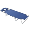 Tumbona Reclinable De Metal, Tela Oxford 182x56x24,5cm-outsunny. Azul
