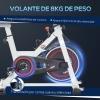 Bicicleta Estática Homcom De Acero Abs, 103x53x105-117,5cm, Blanco