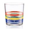 Set 4 Vasos De Agua Cristal Rayas Finas Multicolor Casa Benetton 0,345l