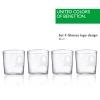 Set 4 Vasos De Agua Cristal Logo Transparente Casa Benetton 0,345l