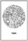 Panorama® Cartón Pluma Mapa Circulo De París 35 X 50 Cm   Impreso En Cartón Pluma De Alta Calidad   Cuadros Decoración Salón   Cuadros Para Dormitorio   Lienzos Decorativos