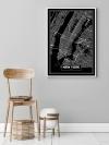 Panorama® Cuadro De Aluminio Mapa Negro De Nueva York 50 X 70 Cm | Impreso En Aluminio Dibond Blanco De Alta Calidad | Cuadros Decoración Salón | Cuadros Para Dormitorio | Lienzos Decorativos