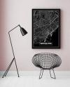 Panorama® Lienzo Mapa Negro De Barcelona 70 X 100 Cm   Impreso En Lienzo De Alta Calidad Con Bastidor   Cuadros Decoración Salón   Cuadros Para Dormitorio   Lienzos Decorativos
