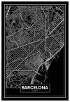 Panorama® Cartón Pluma Mapa Negro De Barcelona 35 X 50 Cm | Impreso En Cartón Pluma De Alta Calidad | Cuadros Decoración Salón | Cuadros Para Dormitorio | Lienzos Decorativos