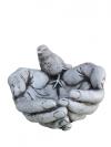 Figura Manos Con Pájaro 22x26x17cm. Hormigón-piedra. Gris