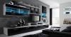 Skraut Home - Mueble Salón Comedor Moderno Con Leds, Acabado En Blanco Mate Y Negro Brillo Lacado, Medidas: 250x194x42 Cm De Fondo