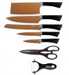 Set De 5 Cuchillos Tijeras Pelador Copper Stone Juego Esmaltados Acero Garantia Copper Knifes