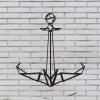 Decoración De Pared Anchor, W52xd0,15xh55 Cm,  Color Negro