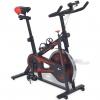 Bicicleta De Spinning Con Sensores De Pulso Negra Y Roja Vidaxl