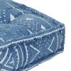 Vidaxl Puf Cuadrado Estampado Algodón Hecho A Mano 50x50x12 Cm Azul