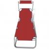 Tumbona Plegable Con Toldo Acero Y Tela Rojo Vidaxl