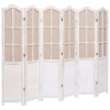 Vidaxl Biombo Divisor De 6 Paneles De Tela Blanco 210x165 Cm