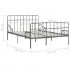 Vidaxl Estructura De Cama Con Somier Metal Gris 120x200 Cm