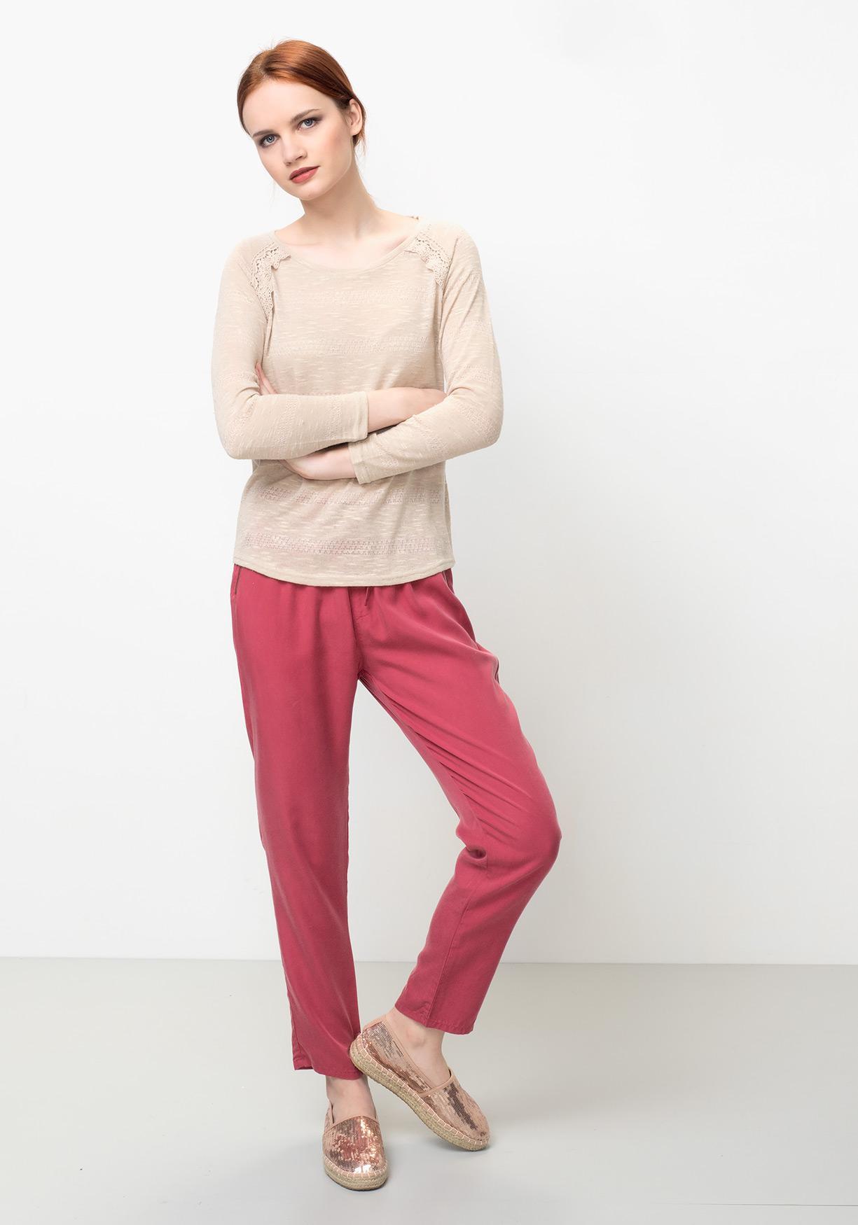 Comprar Jersey de mujer cuello redondo con manga larga TEX ... 4b5b07b0add4