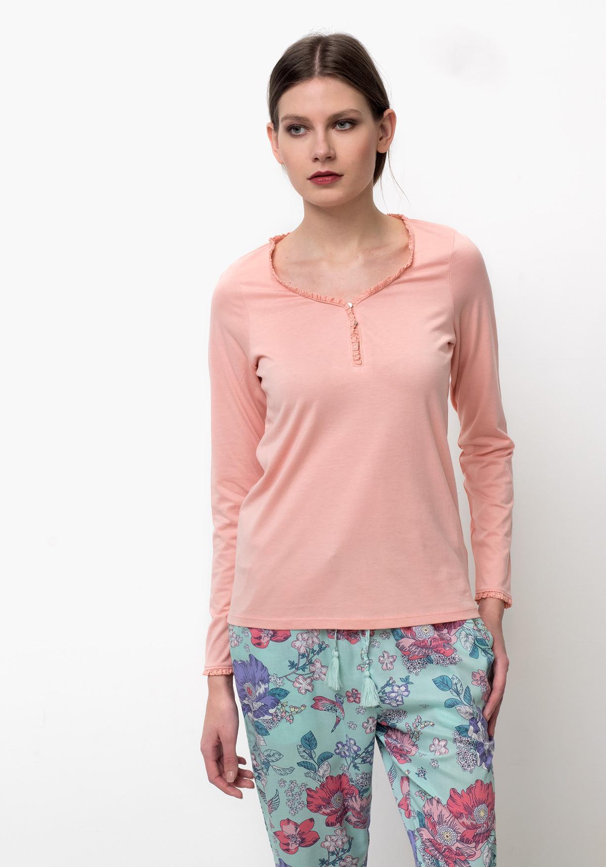 Comprar Camiseta lencería mujer manga larga con escote TEX ... 0def6c4a128d