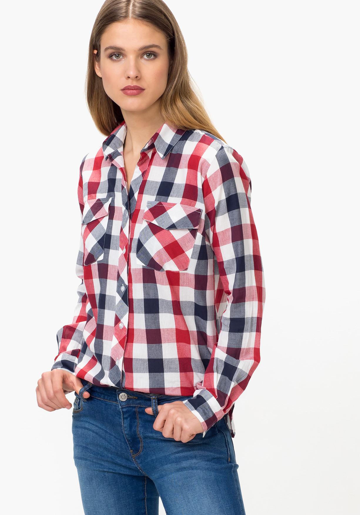 6764726b80b Comprar Camisa de mujer manga larga de cuadros TEX. ¡Aprovéchate de ...