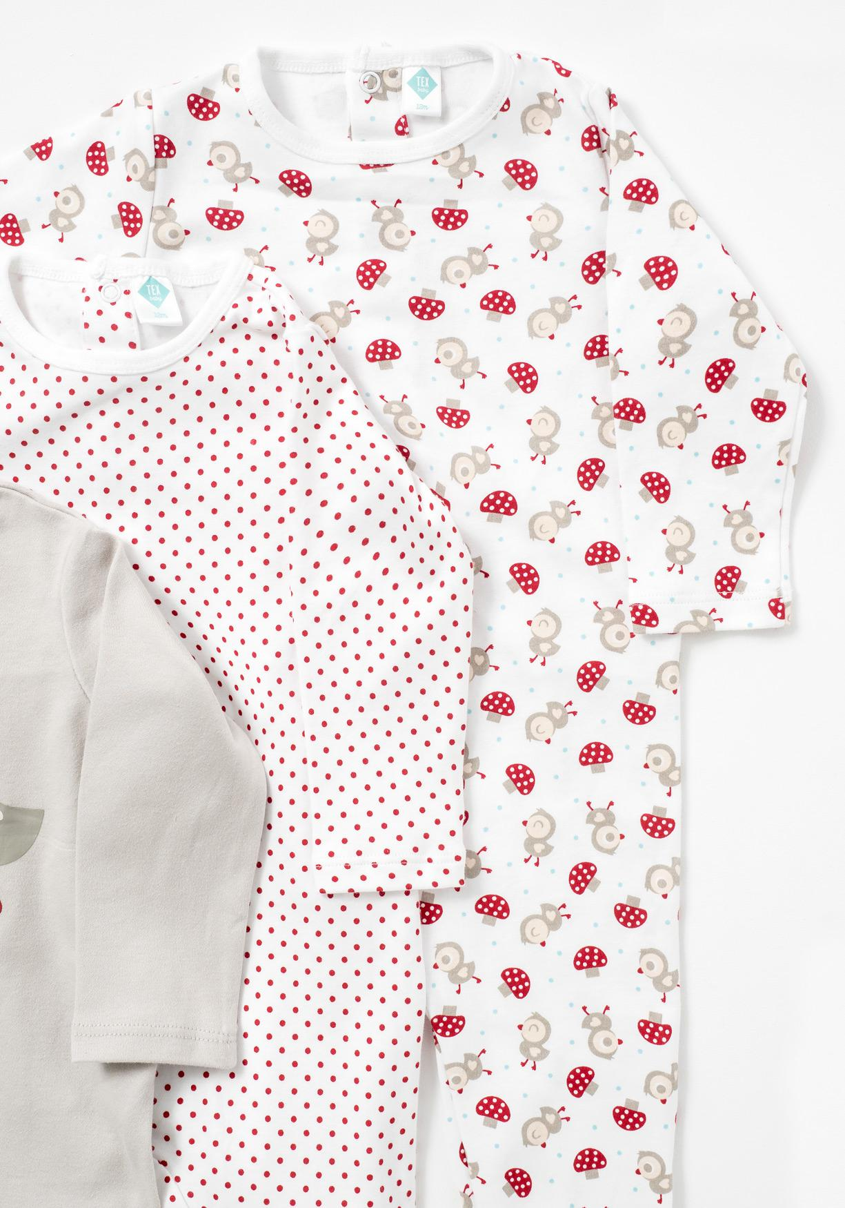 Pack de tres pijamas estampados TEX