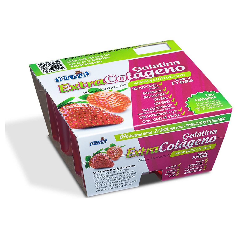 Gelatina sabor fresa Yelli Frut pack de 4 unidades de 100 g.