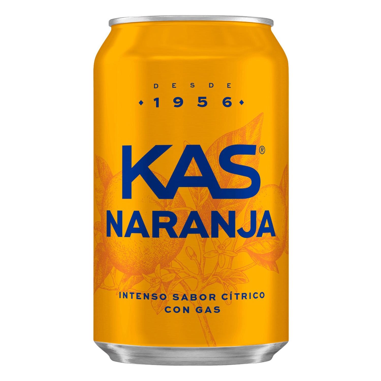 Refresco de naranja Kas con gas lata 33 cl.