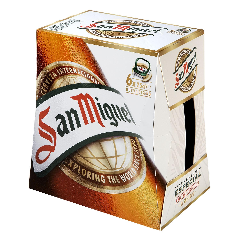Cerveza San Miguel especial Lager pack de 6 botellas