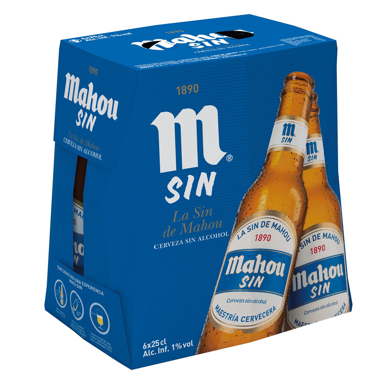 Cerveza Mahou Sin alcohol pack de 6 botellas de 25 cl.